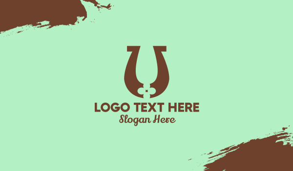 four leaf clover - Lucky Horseshoe Letter U Business card horizontal design