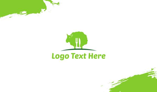 green spoon - Green Lamb Business card horizontal design