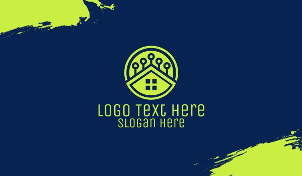 high technology - Green Smart Home Business card horizontal design