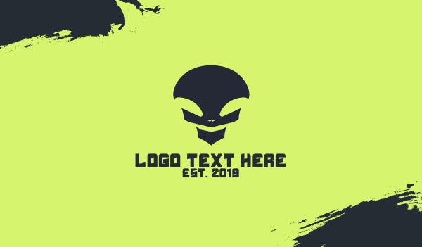 alien - Black Alien Skull Business card horizontal design