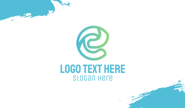 green energy - Stylish Outline E Business card horizontal design