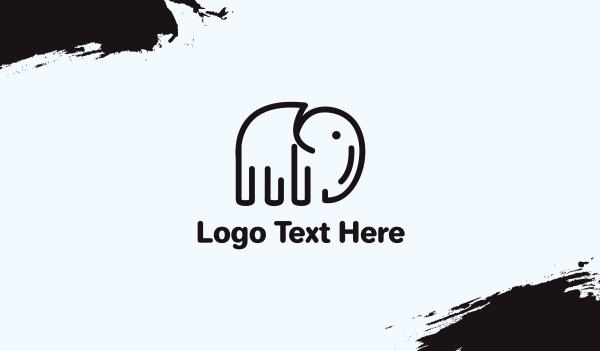 jungle - Minimalist Black Elephant  Business card horizontal design