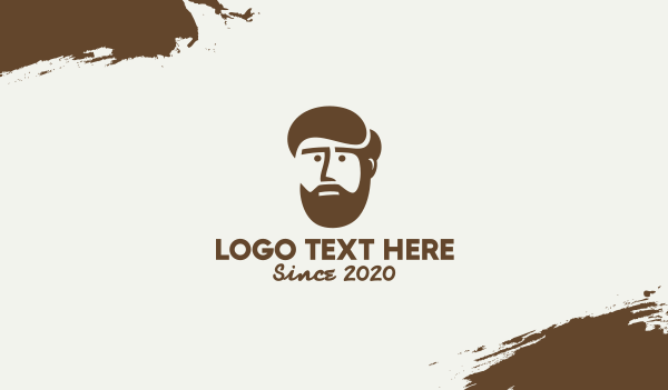 hipster - Brown Bearded Dad Business card horizontal design