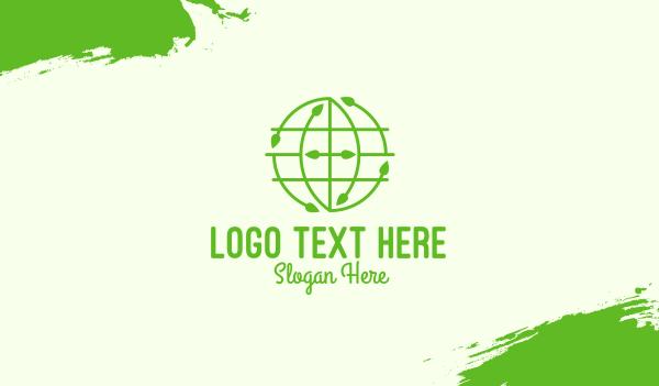 world map - Green Nature Conservation Globe Business card horizontal design