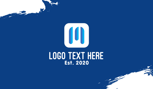 soundwave - Blue Letter M Streaming Application Business card horizontal design