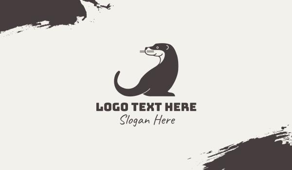 wild animals - Otter Animal Business card horizontal design