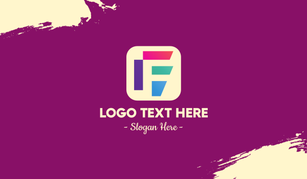 app icon - Colorful Mobile App Letter F Business card horizontal design