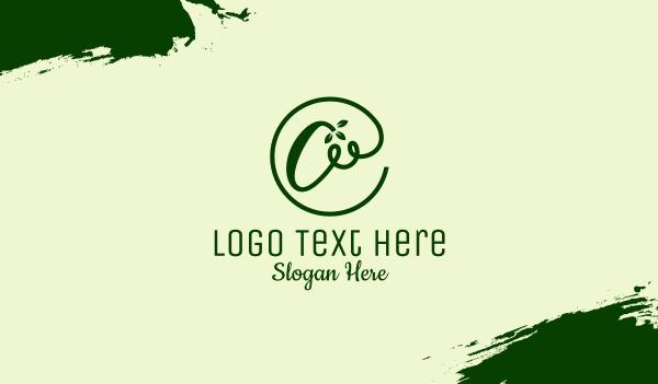 vines - Green Natural Letter A Business card horizontal design
