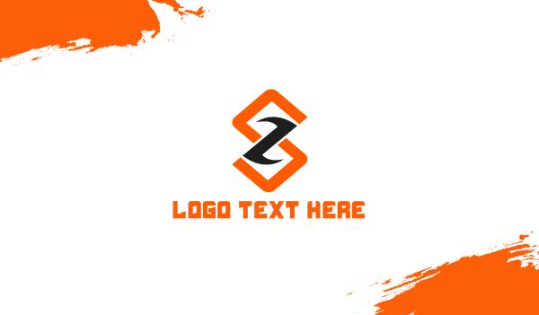 lettermark z - Modern Red Orange Letter S Business card horizontal design
