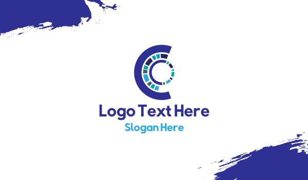 robot - Futuristic Letter C Business card horizontal design