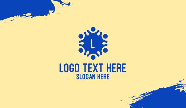 orphanage - Blue Children Lettermark  Business card horizontal design