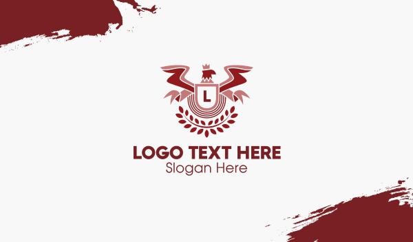 family crest - Red Eagle Emblem Business card horizontal design