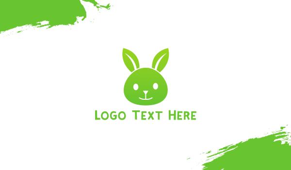 farm shop - Green Eco Rabbit Business card horizontal design