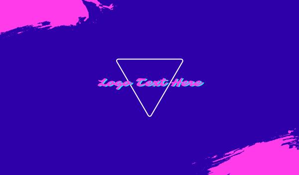 aesthetic - Pink DJ Neon Vaporwave Business card horizontal design