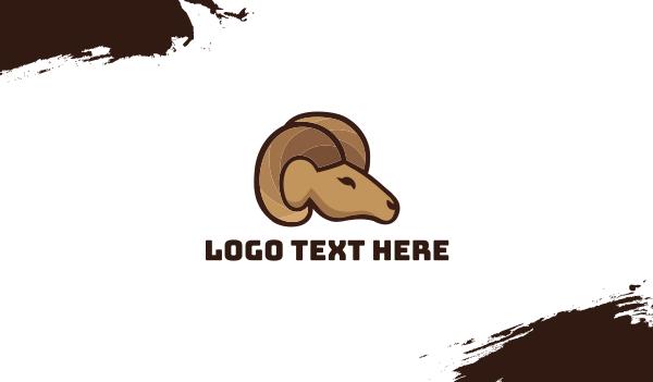 brown goat - Ram Head Business card horizontal design