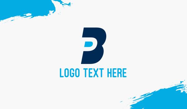 money - Blue B & P Business card horizontal design