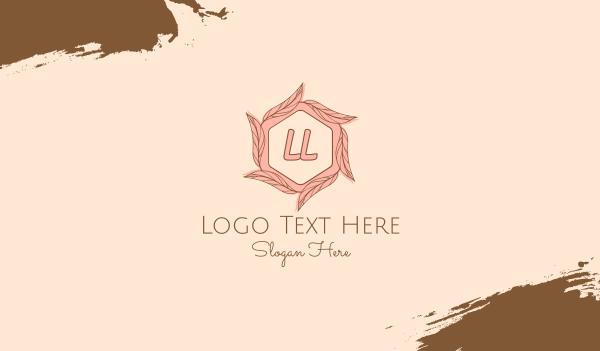 waxing - Pink Elegant Leaf Letter Business card horizontal design