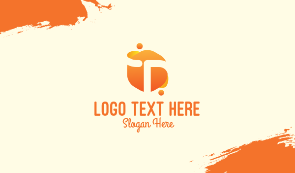 fluid - Orange Liquid Letter T Business card horizontal design