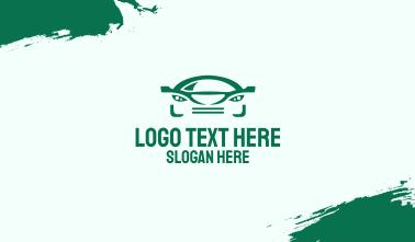 Green Car Face Business Card