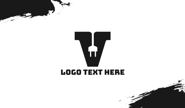 volt - Electrical Plug Letter V Business card horizontal design