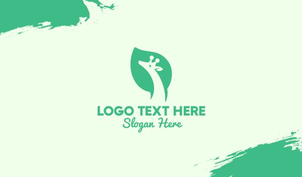 wild animal - Green Giraffe Leaf Business card horizontal design