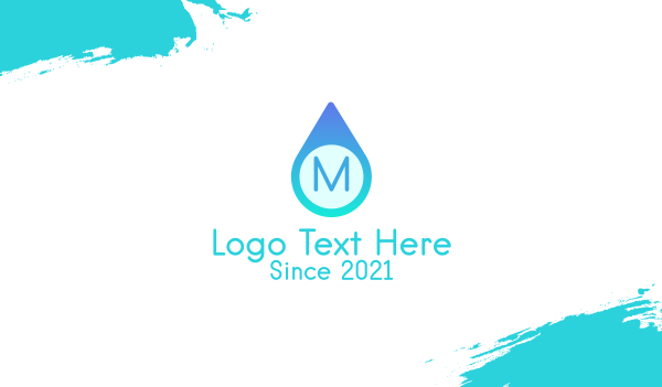 purified - Blue Water Droplet Business card horizontal design