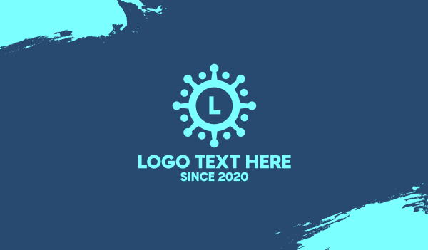 molecule - Blue Virus Lettermark Business card horizontal design