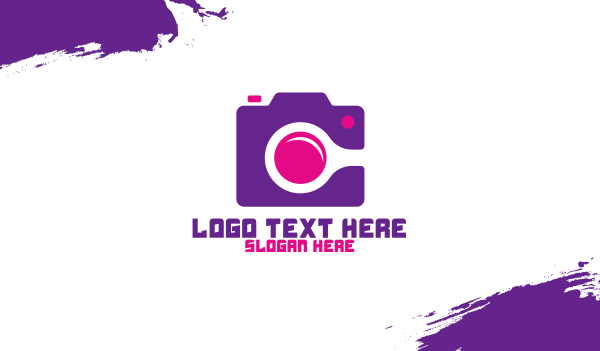 camera - Purple Pink Photography Camera Business card horizontal design