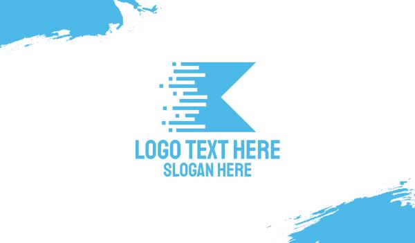 blue flag - Blue Digital Flag Business card horizontal design