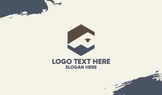 Hexagon Man Face Mask Business Card