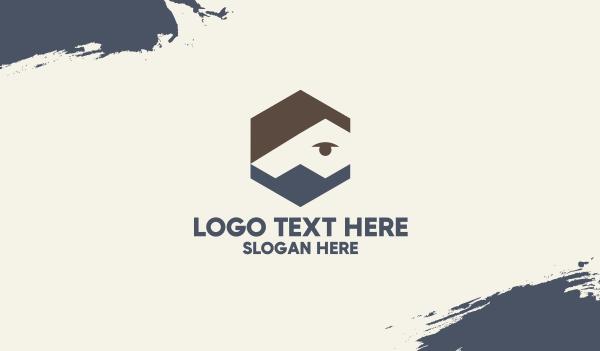 med - Hexagon Man Face Mask Business card horizontal design