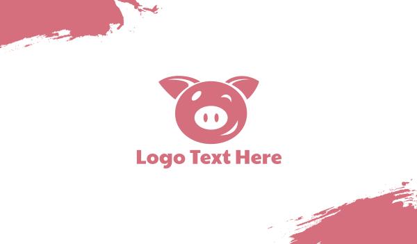 wink - Pink Winking Pig Business card horizontal design