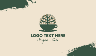 Green Coffee Cup Tree Business Card