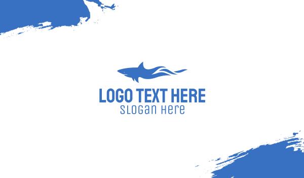 swim - Blue Wild Shark Business card horizontal design