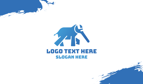 transportation - Blue Elephant Wrench Business card horizontal design