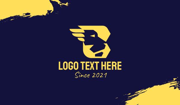 cheetah - Modern Letter B Lion Business card horizontal design