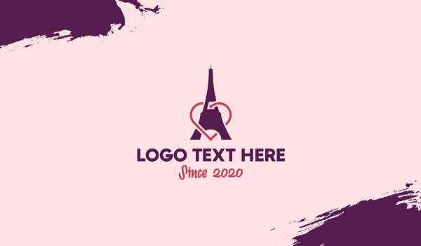 love - Paris Eiffel Tower Heart  Business card horizontal design