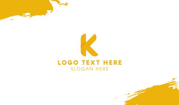 branding - Golden Letter K Business card horizontal design