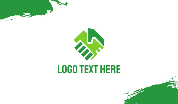 green - Green Hands Handshake Partnership Business card horizontal design
