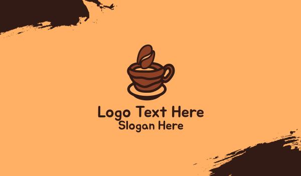 brewed - Coffee Bean Cup Business card horizontal design