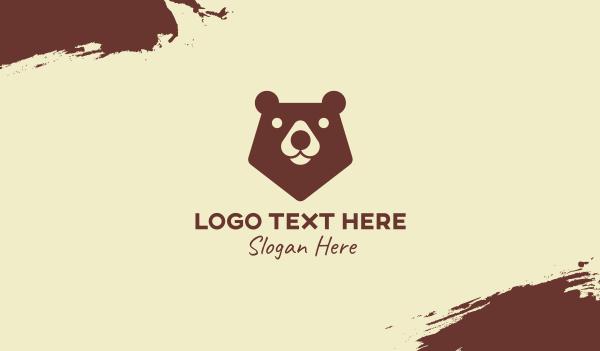 adorable - Brown Wild Bear Business card horizontal design