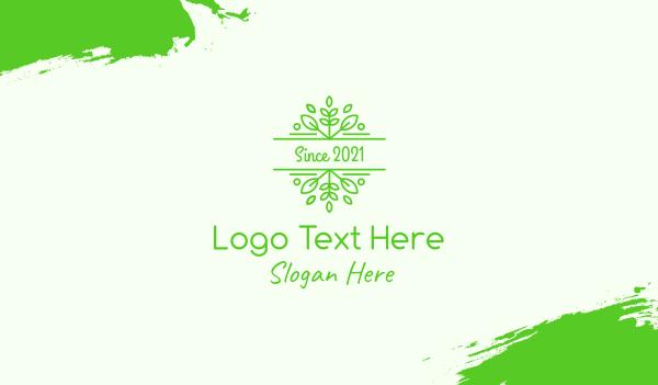 victorian - Green Herbal Garden Leaves Business card horizontal design