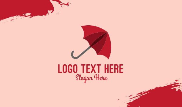 rain - Red Umbrella Business card horizontal design