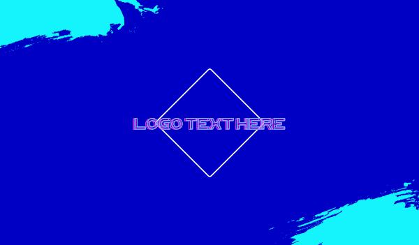 aesthetic - Blue DJ Neon Vaporwave Business card horizontal design