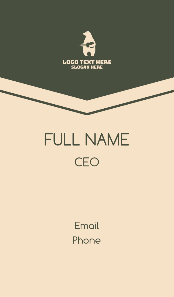 White Polar Bear Guitar Business Card