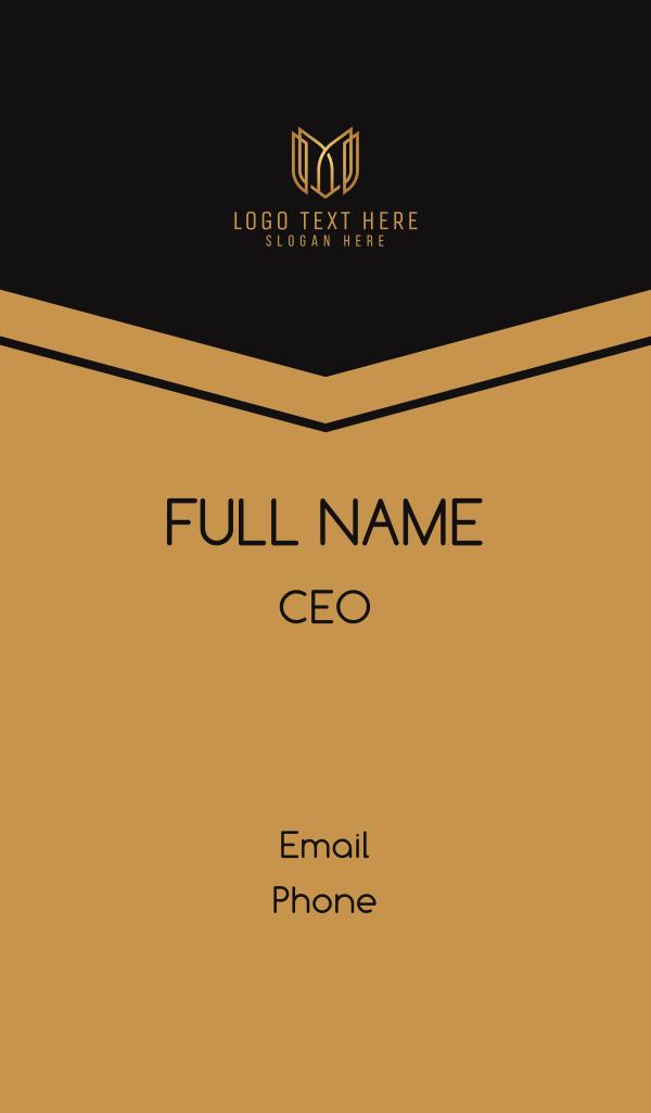 Golden Shield Letter M Business Card