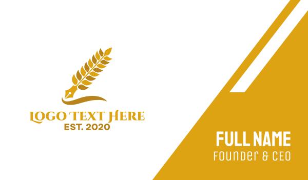 author - Wheat Grain Pen Business card horizontal design
