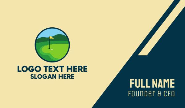 golf player - Golf Course Green Business card horizontal design