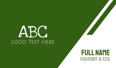 Green Chalkboard ABC Business Card