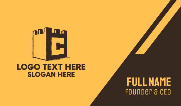 wall - Castle Letter C Business card horizontal design